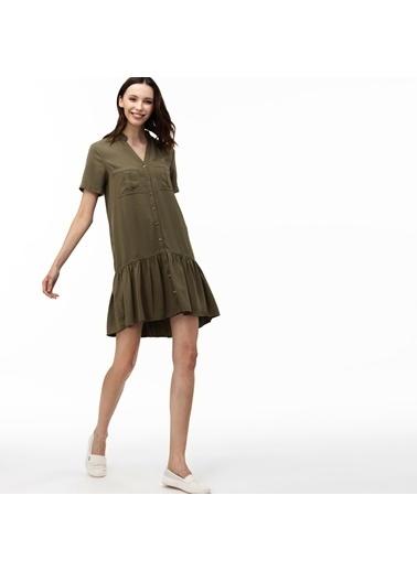 Lacoste Kadın V Yaka Elbise EF0015T.407 Yeşil
